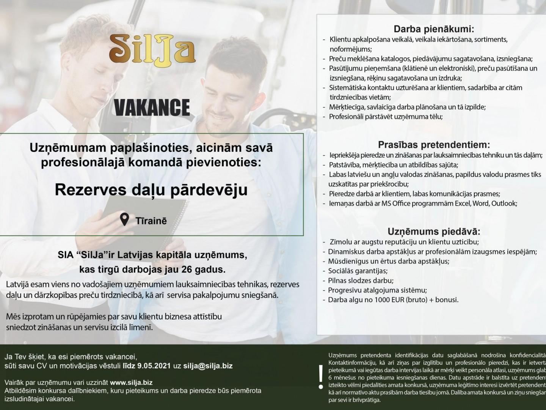 Silja Vakance Rezerves daļas Tīraine 2021