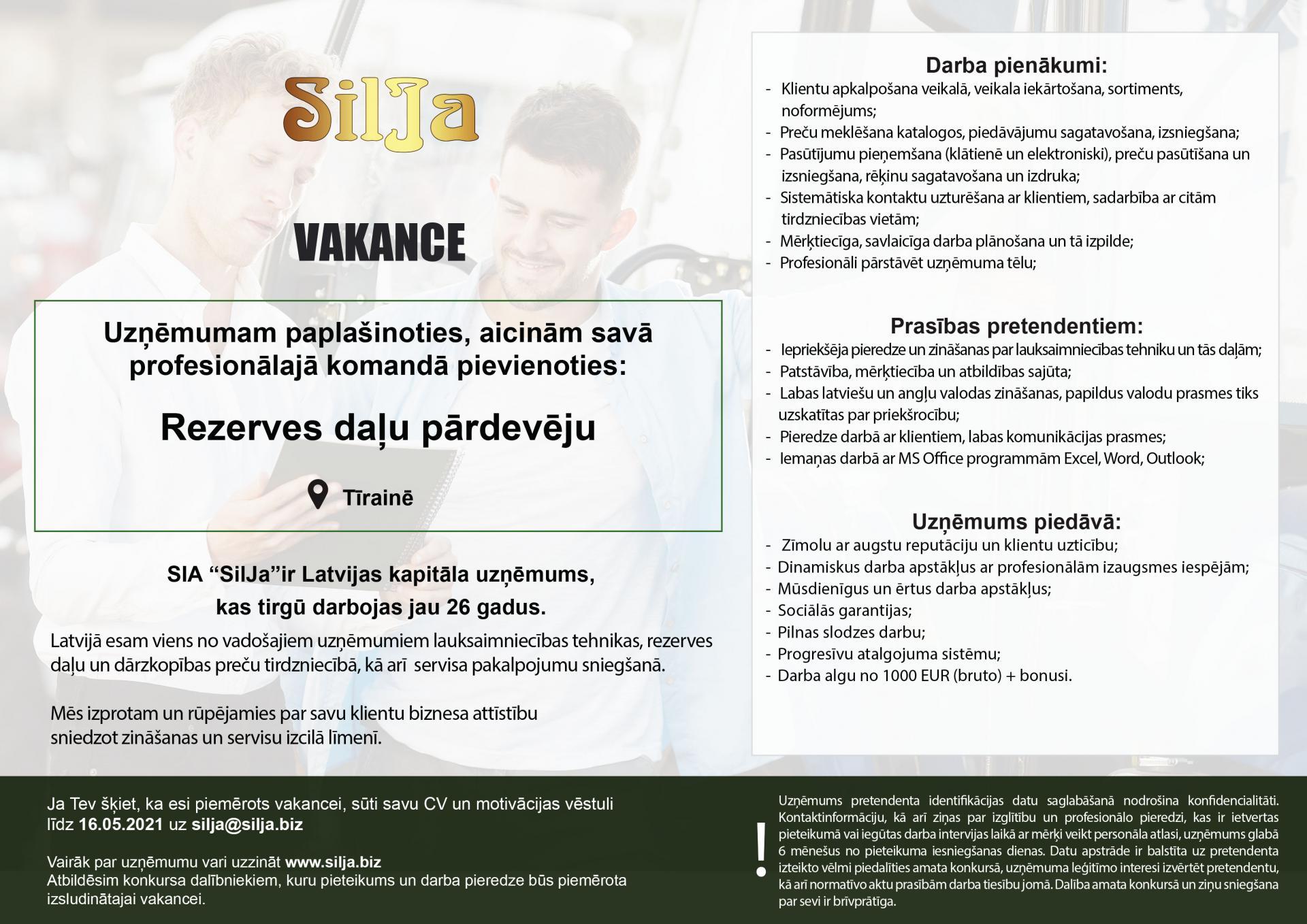 Silja Vakance Rezerves daļas Tīraine 2021 CV online pagarnats