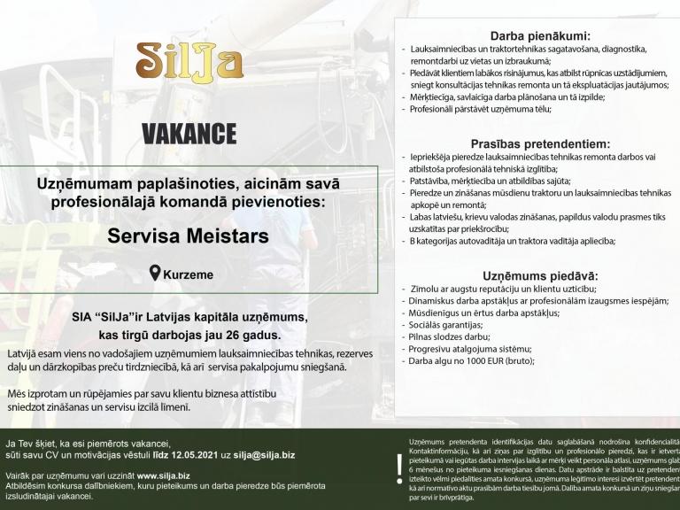 Silja Vakance Tehnikas pārdevējs Kurzeme 2021 l