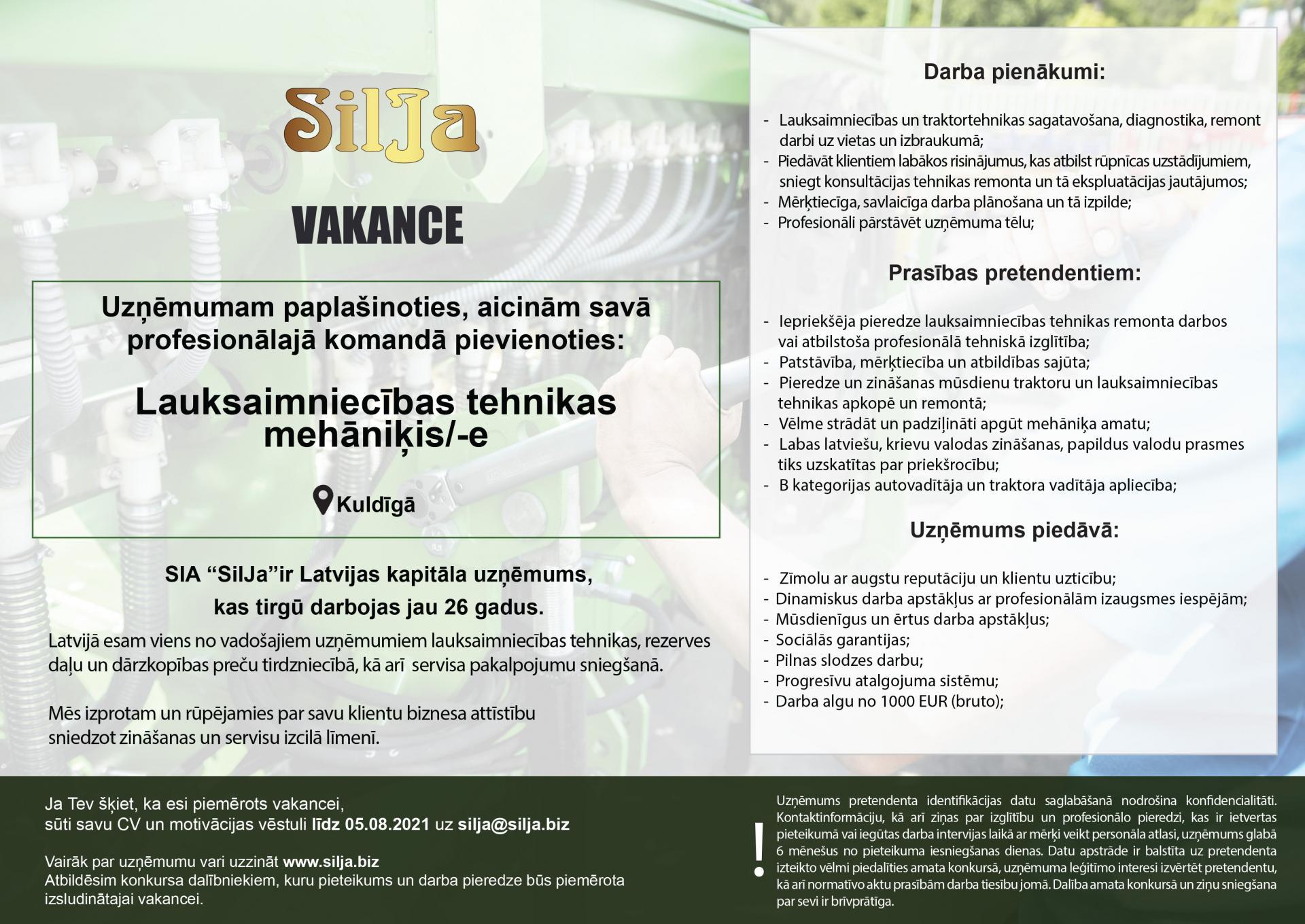 Silja Vakance Lauksaimniecības tehnikas 2021 08