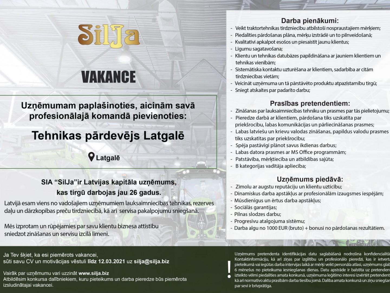 Silja Vakance Tehnikas pārdevējs Latgalē 2021 labots 2
