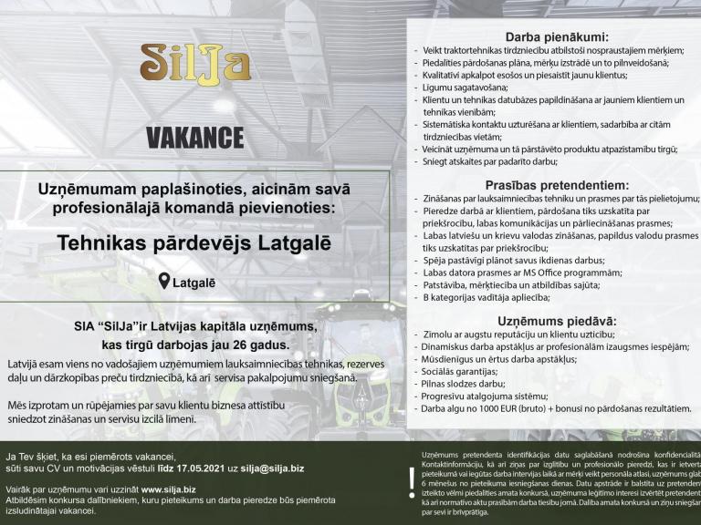 Silja Vakance Tehnikas pārdevējs Latgalē 2021 o5