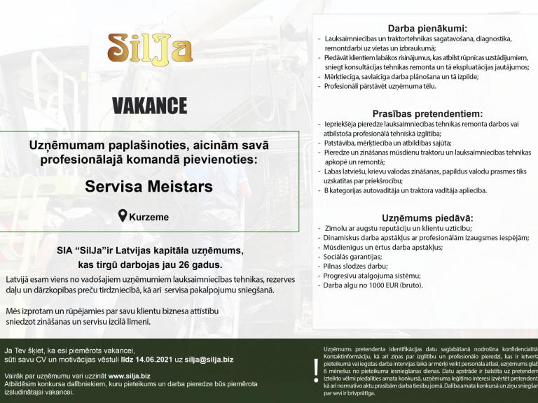 Silja Vakance Tehnikas pārdevējs Kurzeme pagarinats